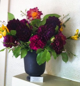 Did an arrangement featuring Dahlias for a small business open house in Orange, CA.