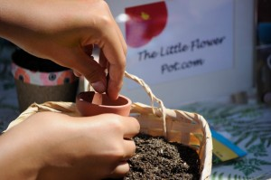 Sowing seeds at a garden party